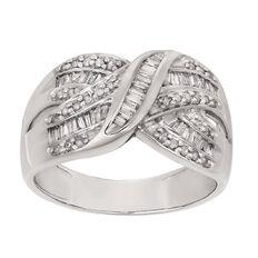 1/2 Carat of Diamonds 9ct Gold Diamond Baguette Ring