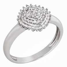 1/4 carat of Diamonds Sterling Silver Diamond Pyramid Ring