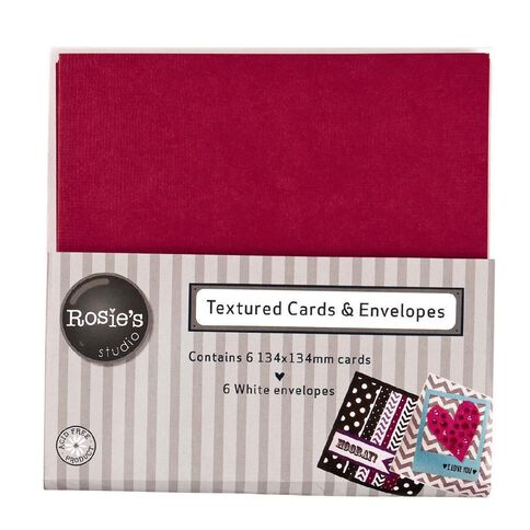 Rosie's Studio Textured Cards Red 134mm x 134mm 6 Pack