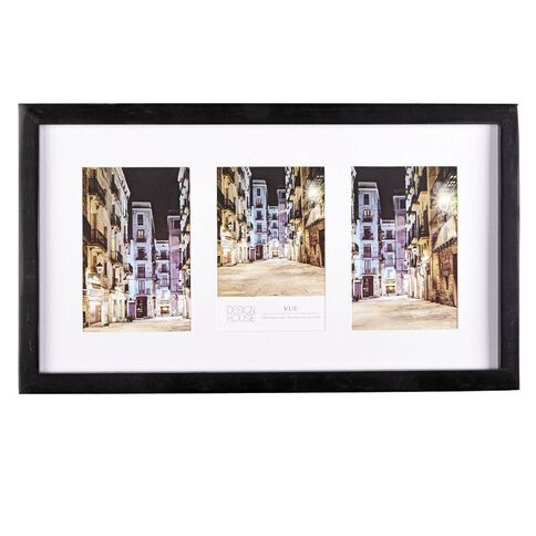 Design House Collage Frame Vue Black 3 Openings 10cm x 15cm (4in x 6in)