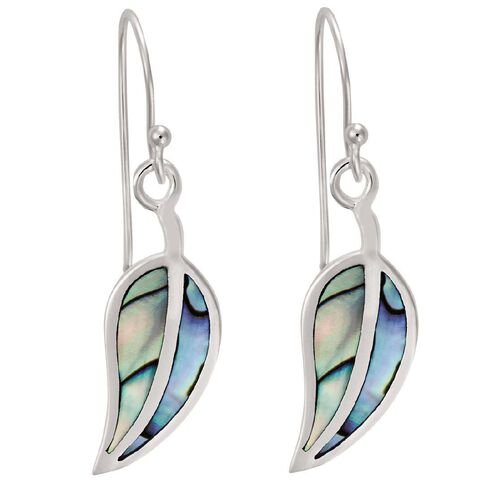 Sterling Silver Paua Teardrop Earrings