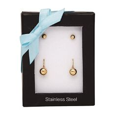 Stainless Steel Gold Plated Set of 2 Earrings