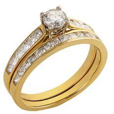 1 Carat of Diamonds 9ct Gold Bridal Set Ring