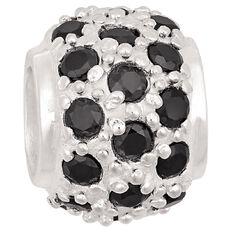 Ane Si Dora Sterling Silver Black CZ Fancy Charm Ball