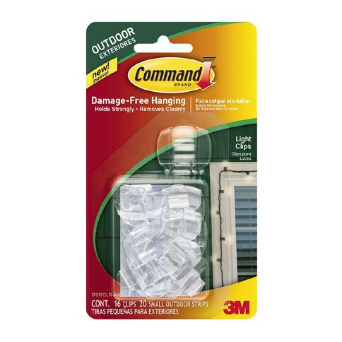 Command Outdoor Light Clips with Foam Strips 16 Clips 20 Strips