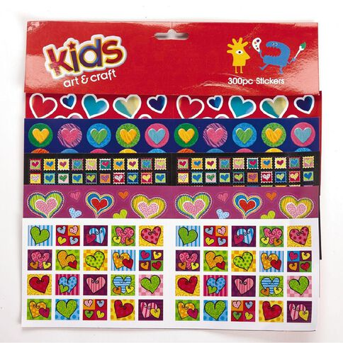 Kids' Art & Craft Stickers Assortment 300 Pieces