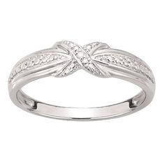 Sterling Silver Diamond Kiss Ring