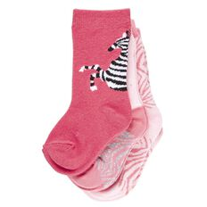H&H Infants Girls' Zebra Crew Socks 3 Pack