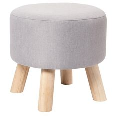 Living & Co Fabric Footstool Cool Grey