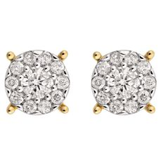 1/2 Carat of Diamonds 9ct Gold Diamond Cluster Stud Earrings