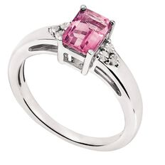 Sterling Silver Diamond and Synthetic Pink Sapphire Rectangle Ring