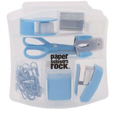 Paper Scissors Rock Clear Stationery Blue Set