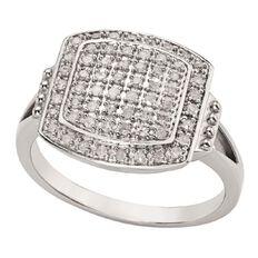 1/4 Carat of Diamonds Sterling Silver Diamond Square Ring