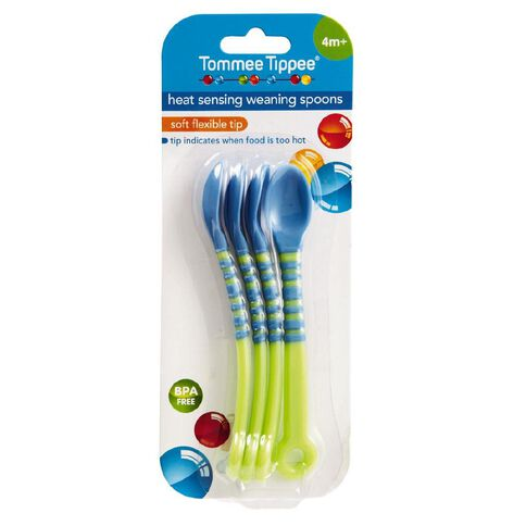 Tommee Tippee Heat Sensing Weaning Spoons 4 Pack Assorted Colours