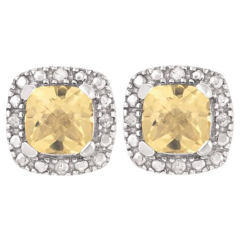 Sterling Silver Diamond and Citrine Cushion Cut Earrings