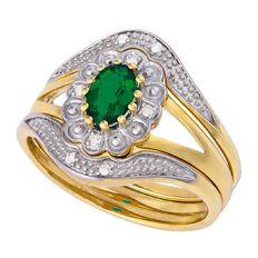 9ct Gold Diamond Mini Synthetic Emerald Trio Set Ring