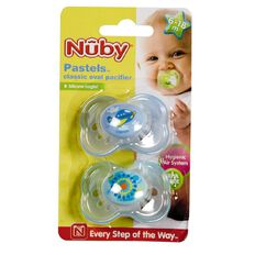 Nuby Pastels Classic Oval Pacifier 6-18mths 2 Pack Assorted Colours
