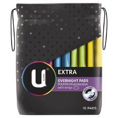 U By Kotex Maxi Pad Overnight 10s