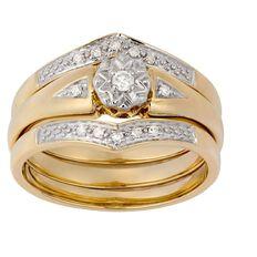 9ct Gold Diamond Trio Set Ring