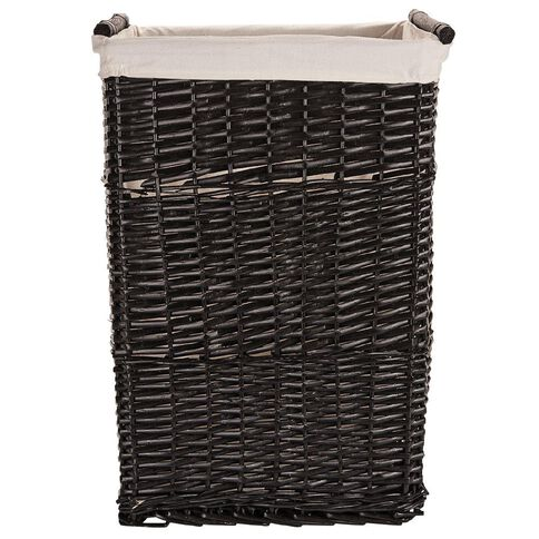 Living & Co Burma Wicker Hamper Black
