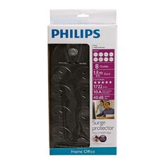 Philips 8-Way 1.8m 1772J Surge Protector Black