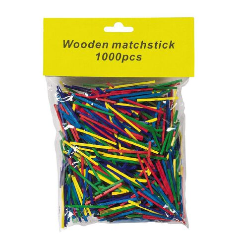 Kids' Art & Craft Craft Matchsticks 1000 Piece Pack Coloured