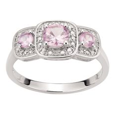 Sterling Silver Synthetic Pink Sapphire Cushion Trio Ring
