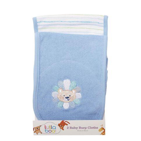 Lullaboo Baby Burp Cloths Blue 2 Pack