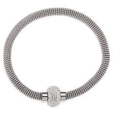 Stainless Steel Silver Crystal Bracelet