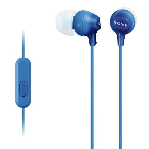 Sony In-Ear EX Earbuds with Microphone MDREX15APLI Blue
