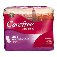 Carefree Ultra Thin Heavy Day/Night Wings 7 Pack