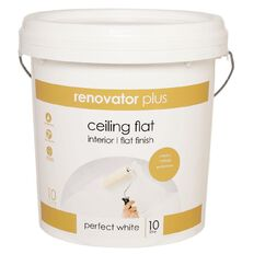 Renovator Plus Ceiling Paint Flat Perfect White 10L