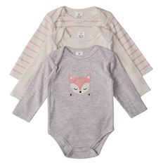 Hippo + Friends Baby Long Sleeve Print Front Bodysuits 3 Pack