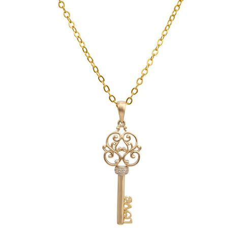 9ct Gold Diamond Key Pendant