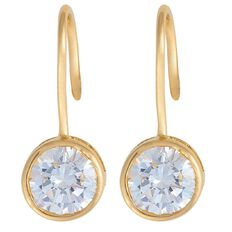 9ct Gold CZ Shepherd Hook Earrings