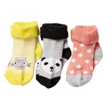 Hippo + Friends Girls' Terry Bootee Socks 3 Pack