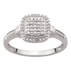 Sterling Silver Diamond Cushion Ring