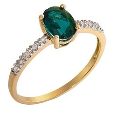 9ct Gold Diamond and Synthetic Emerald Ring