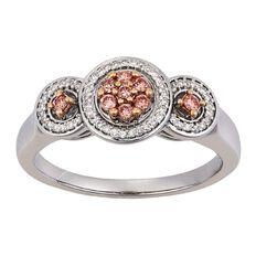 1/4 Carat of Diamonds 9ct Gold Pink & White Cluster Halo Ring