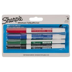 Sharpie Whiteboard Marker Fine Colour Assortment 4 Pack