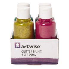 Artwise Paint Glitter 120ml 4 Pack