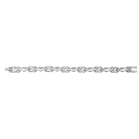 Stainless Steel CZ Hugs and Kiss Bracelet