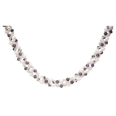 Sterling Silver Fresh Water Pearl with Amethyst Chips Necklace