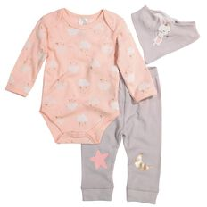 Hippo + Friends Baby Girl Bodysuit & Bib 3 Piece Set