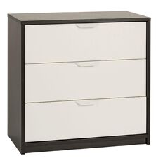 Ikea Askvoll Chest of 3 Drawers Black/Brown & White