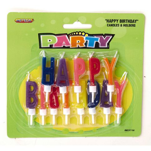 Unique Candles Happy Birthday with Holders