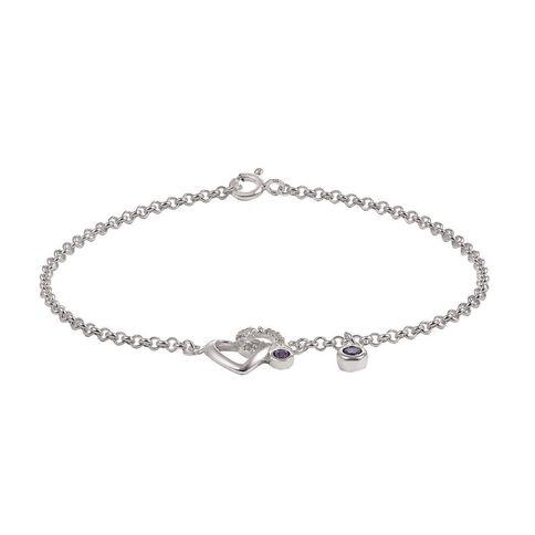 Sterling Silver CZ Heart Belcher Bracelet