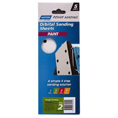 Norton 1/3rd Sheet Sander Sandpaper P120 93mm x 230mm 8 Hole 5 Pack