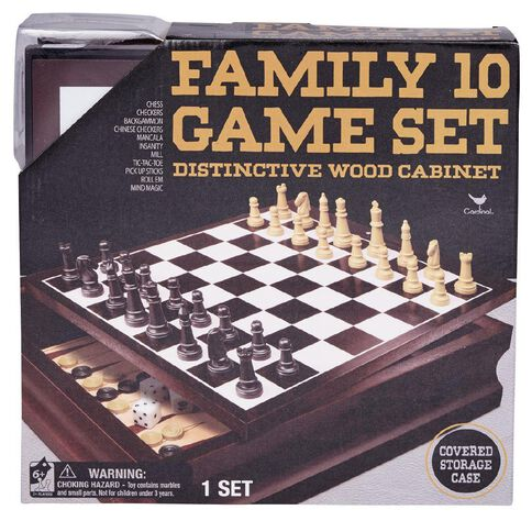 10 Family Games In Wood Box