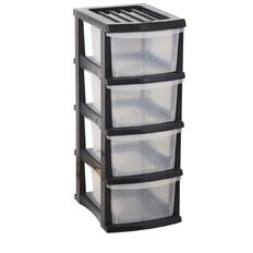 Taurus Organiser Grey & Clear 4 Drawer
